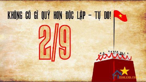 Quốc khánh nước Cộng hòa xã hội chủ nghĩa Việt Nam là ngày Tuyên ngôn độc lập 2 tháng 9 năm 1945