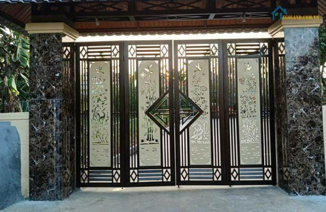 Mẫu cửa cổng inox 4 cánh