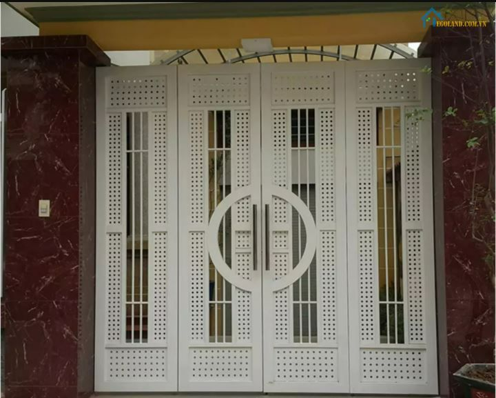 Mẫu cửa inox 4 cánh sơn tĩnh điện