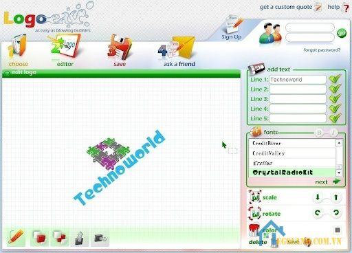 Logo Ease cũng là cái tên không thể không nhắc tới trong top những phần mềm thiết kế logo online tốt nhất