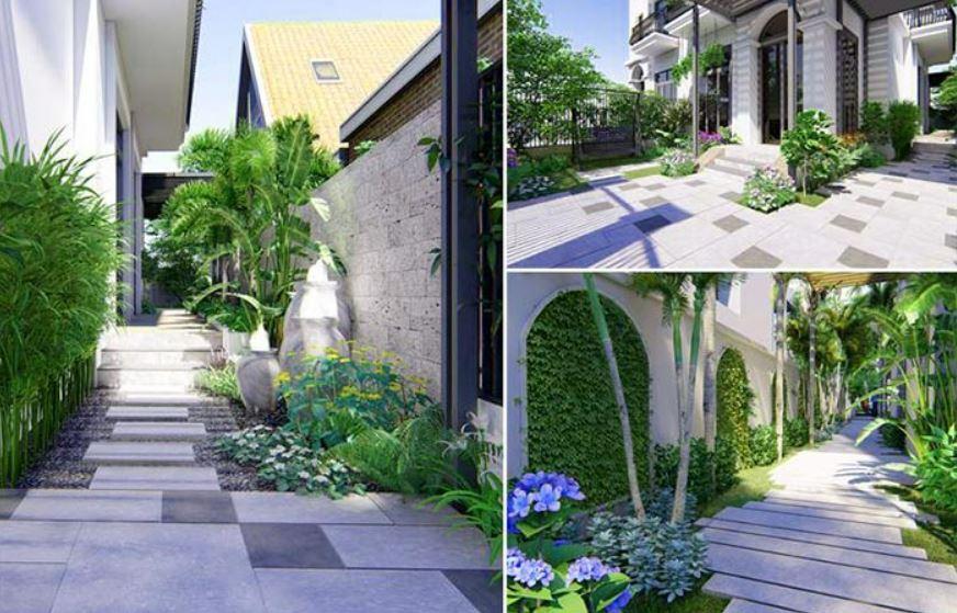 Thiết kế sân vườn theo phong cách đơn giản mà hiện đại