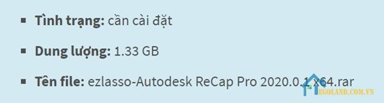 Thông tin cơ bản của phần mềm Autodesk ReCap