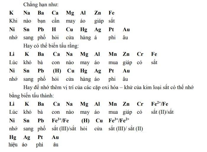Mẹo học thuộc dãy điện hóa kim loại